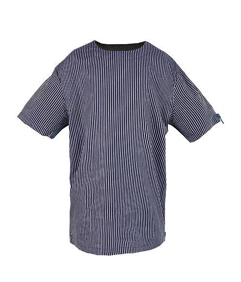 [前幅] 變 男童 | 深藍色斜條紋布 | 藍色拉鍊