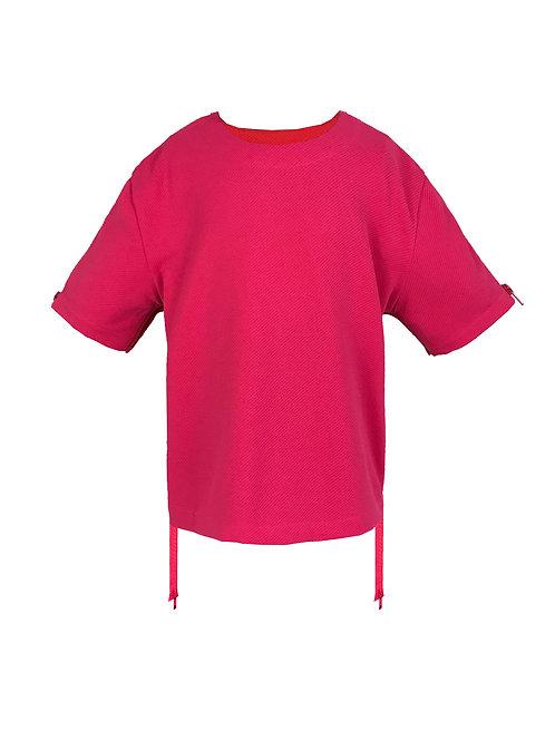 [前幅] 初 女童 | 桃紅色斜紋布 | 粉紅色塑膠拉鍊