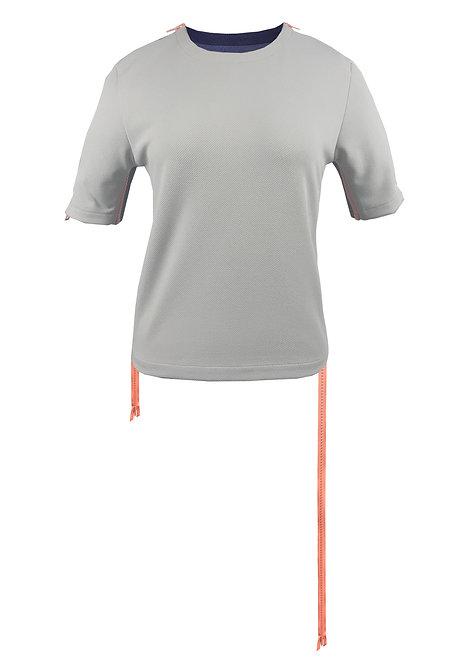 [前幅] 初 女裝 | 灰色斜紋布 | 粉紅色塑膠拉鍊