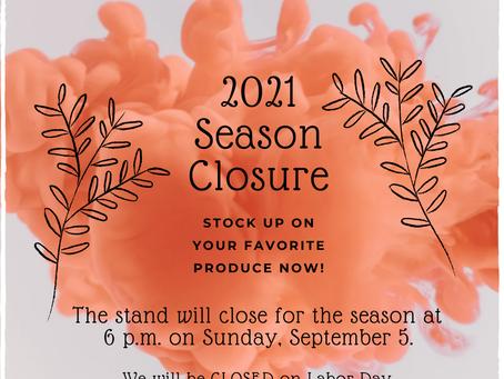 2021 Season Closure