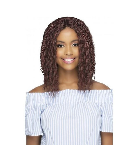 """FASHEE  12"""" DEEP WAVE WITH BRAID STYLE & INVISIBLE CENTER PART"""