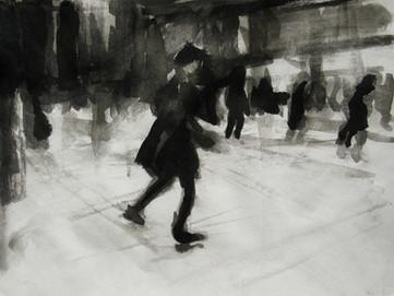 Ice skating at Somerset House No12 - 21 cm x 29 cm - white cartridge paper