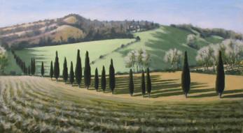 Borgo Pignano No5 - 67.2 cm x 122 cm - Acrylic paint on plywood