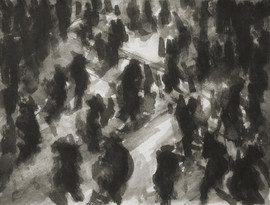 Liverpool Street train station No3 - 21.3 cm x 27.7 cm - Chinese ink on white cartridge paper