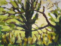 Trees along the River Exe No4 - 19.2 cm x 25.5 cm - Acrylic paint on white board