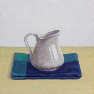 2016 - Still Life - Milk jug and blue dish cloth