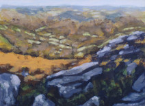 Looking out from Hound Tor No2 - 21 cm x 28.7 cm - Acrylic paint on card