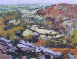 Looking out from Hound Tor No1 - 24 cm x 31.4 cm - Acrylic paint on card
