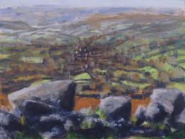 Bonehill No2 - 21.7 cm x 28.8 cm - Acrylic paint on card
