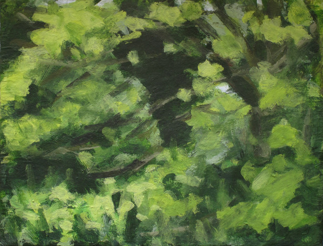 Trees along the River Exe No2 - 19.2 cm x 25.5 cm - Acrylic paint on white board