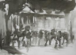 Ice skating at Somerset House No4 - 21 cm x 29 cm - white cartridge paper