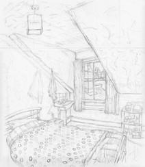 Room 6 No1 - 40.7 cm x 35.4 cm - Graphite on white cartridge paper