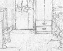 Room 6 No4 - 28 cm x 34.6 cm - Graphite on white cartridge paper
