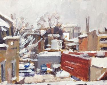 Hackney in the snow - 34.8 cm x 45 cm - Acrylic on white board