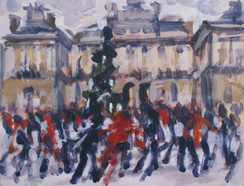 London 2009 - Ice skating at Somerset House - 23 cm x 30.5 cm - Acrylic on board