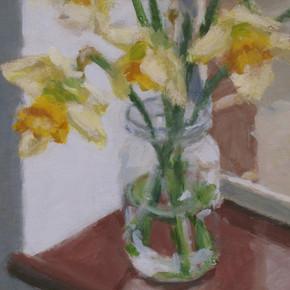 2019 - Still Life - Daffodils in studio No2 -17.3 cm x 17.3 cm cm - Acrylic paint on 2mm mdf