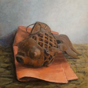 2016 - Still Life - Rusty fish - 46 cm x 46 cm - Acrylic paint on plywood