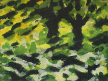 Trees along the River Exe No8 - 19.2 cm x 25.5 cm - Acrylic paint on white board