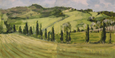 Borgo Pignano No8 - 30.5 cm x 61 cm - Acrylic paint on 2mm mdf