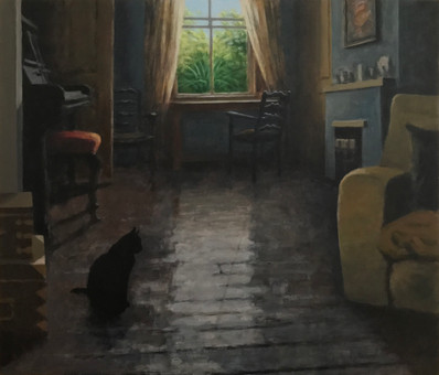 Cat sitting No1 - 70.4 cm x 81.8 cm - Acrylic on board