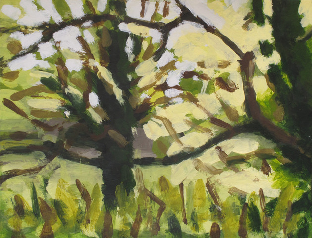 Trees along the River Exe No3 - 19.2 cm x 25.5 cm - Acrylic paint on white board