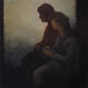 Waiting - No 3 - 17 cm x 17 cm - Oil on plywood
