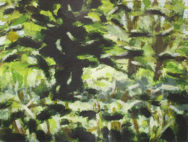 Trees along the River Exe No5 - 19.2 cm x 25.5 cm - Acrylic paint on white board