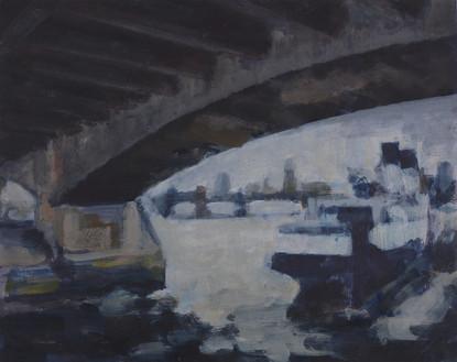Under Waterloo Bridge sketch - 35 cm x 40 cm - Acrylic on white board