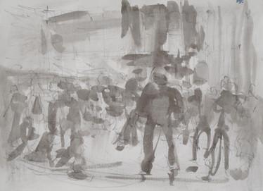 Ice skating at Somerset House No8 - 21 cm x 29 cm - white cartridge paper