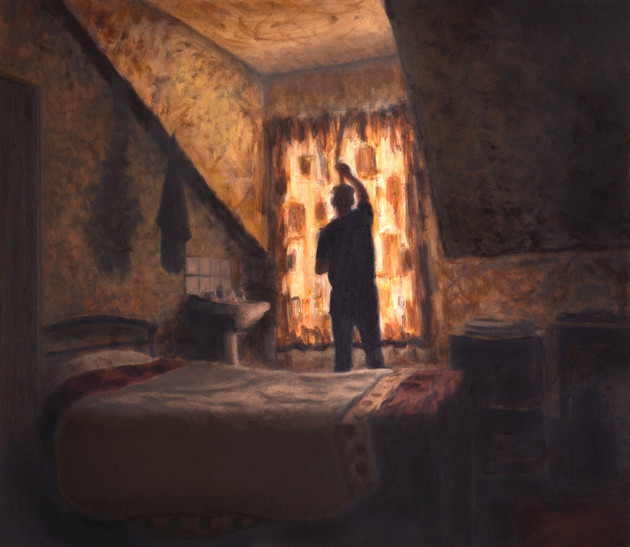 Room 6 - The day begins - 66 cm x 76.1 cm - oil on board