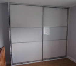 white wood and glass sliding doors