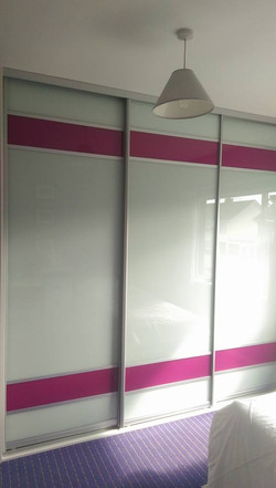 white and pink glass sliding doors