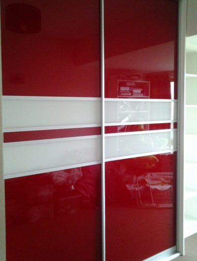 red and white sliding doors