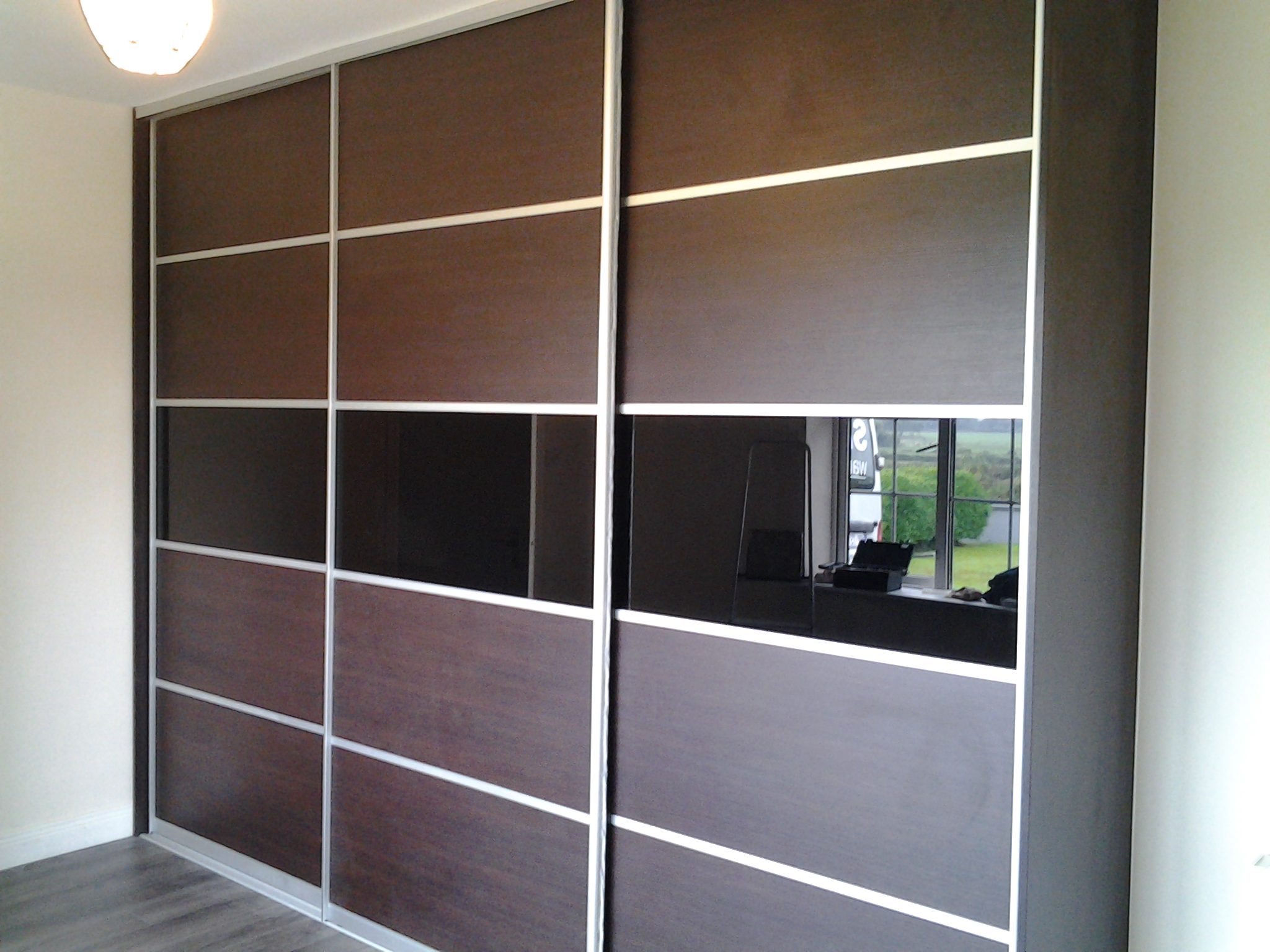 dark walnut and black sliding doors