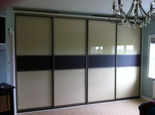 beige glass and wenge sliding doors