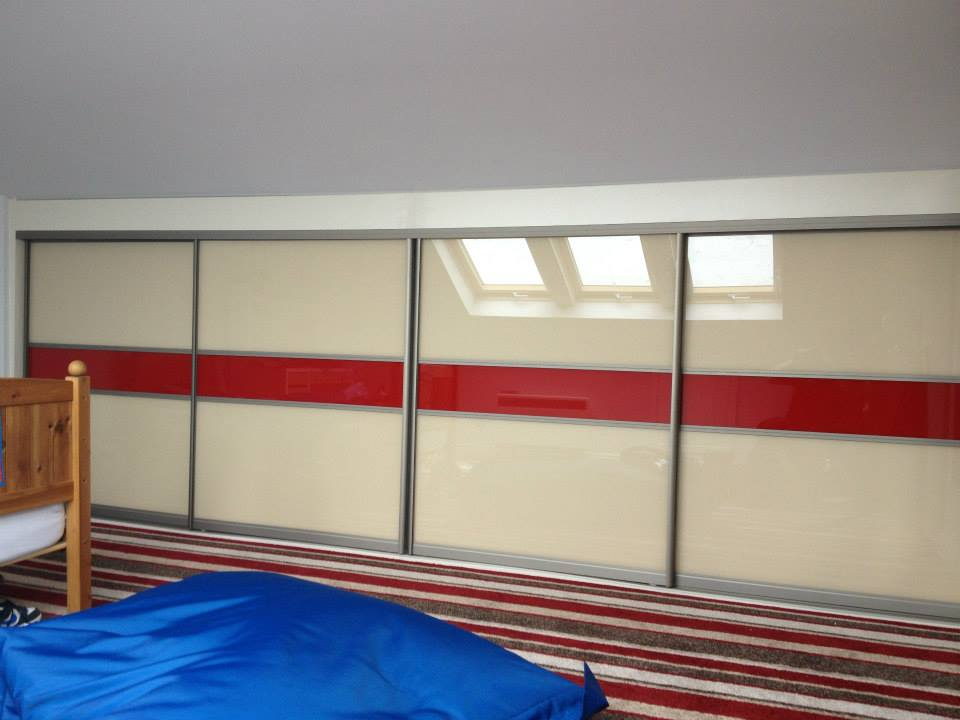 beige and red glass sliding doors