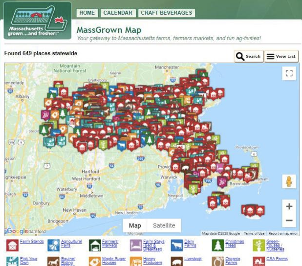 Map of local farms and farmers markets in Massachusetts