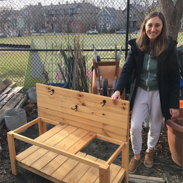 Lauren Evans demonstrating her Mud Kitchen at the Growing Center