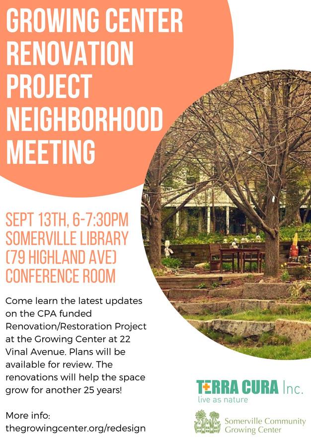Growing Center Renovation Project Neighborhood Meeting