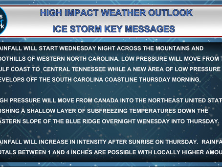 Early Season Winter Storm To Bring Ice And Flash Flooding To Western NC Thursday.