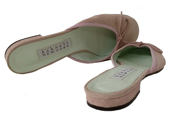 Barney's Pink Suede Slippers