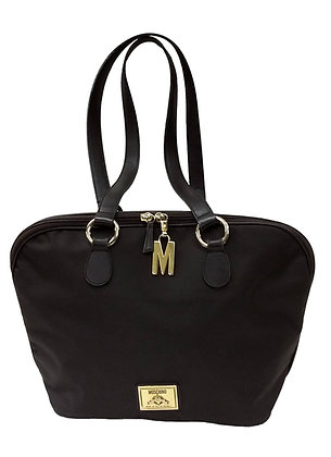 Moschino Brown Nylon and Leather Tote