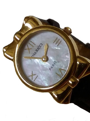 Nina Ricci Gold Plated Watch with Mother of Pearl