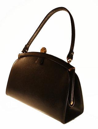 Coblentz  Black Textured Leather Kelly Purse