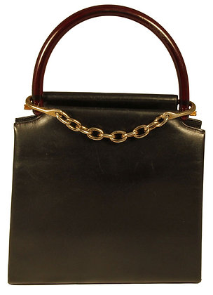 Black Leather Kelly Bag with Chain Closure