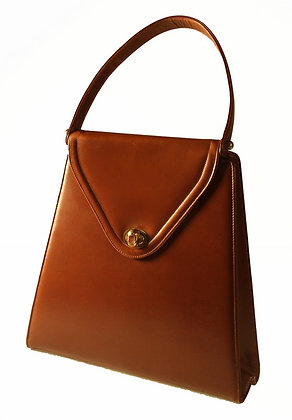 A-Line Brown Smooth Leather Kelly Purse