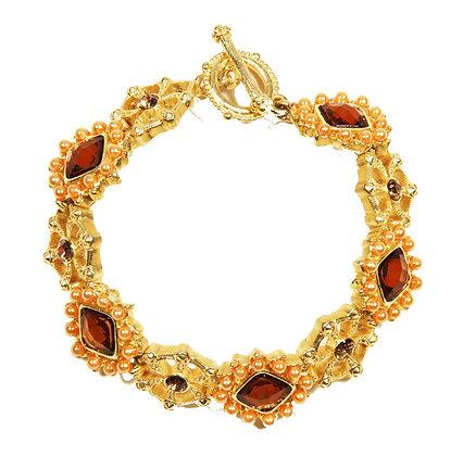 Topaz Stone and Pearl Rhinestone Bracelet