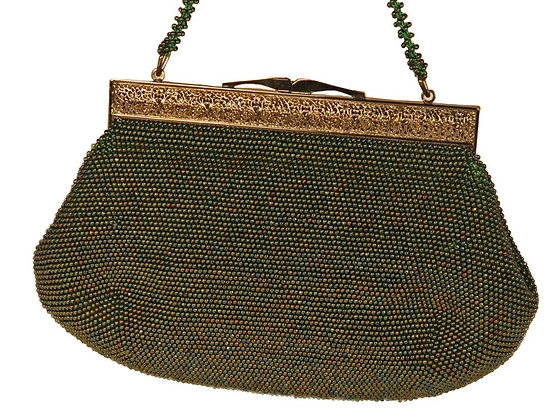 Glass Beaded Evening Purse in  ​Carnival Green