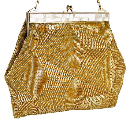 La Regale Gold Beaded and MOP Purse