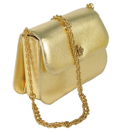 Bienen Davis Gold Leather Evening Purse
